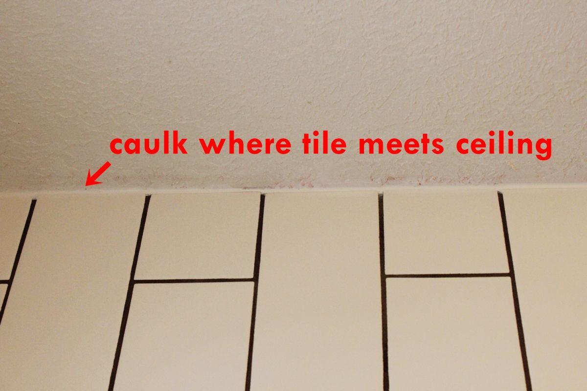 bathroom caulk top ceiling silicone