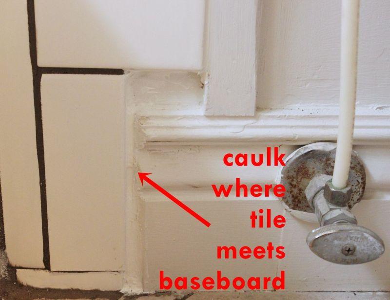 bathroom caulk when meets baseboard