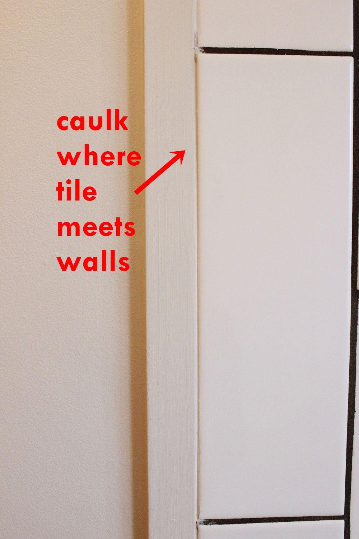 bathroom caulk when meets walls