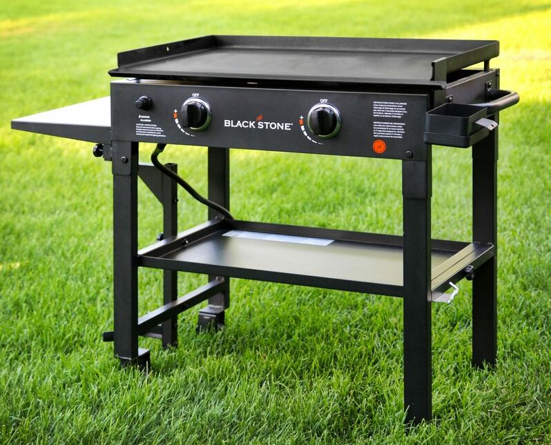 Blackstone 2-Burner Flat Top Propane Gas Grill with Side Shelves
