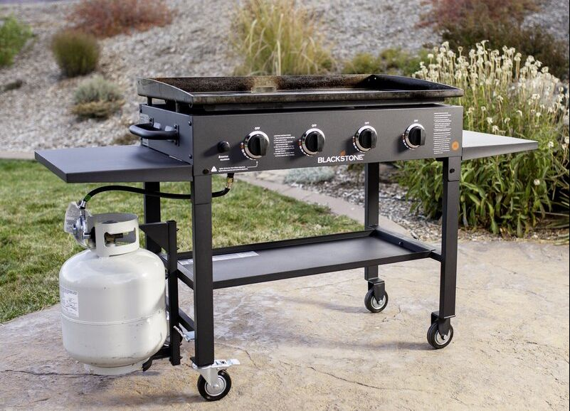 Blackstone 4-Burner Flat Top Propane Gas Grill with Side Shelves