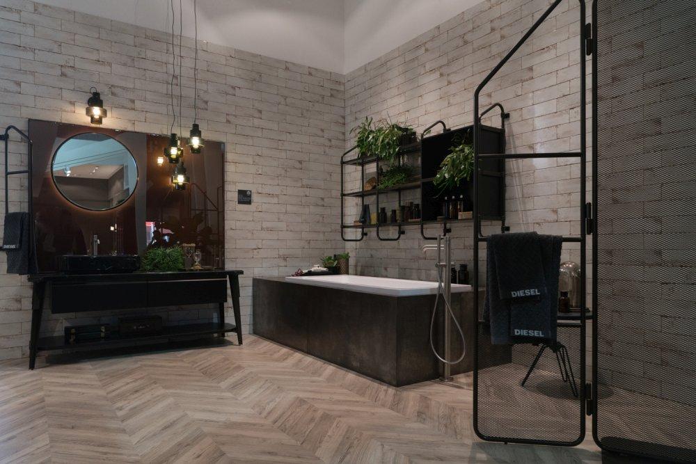 Diesel and Scavolini industrial bathroom decor