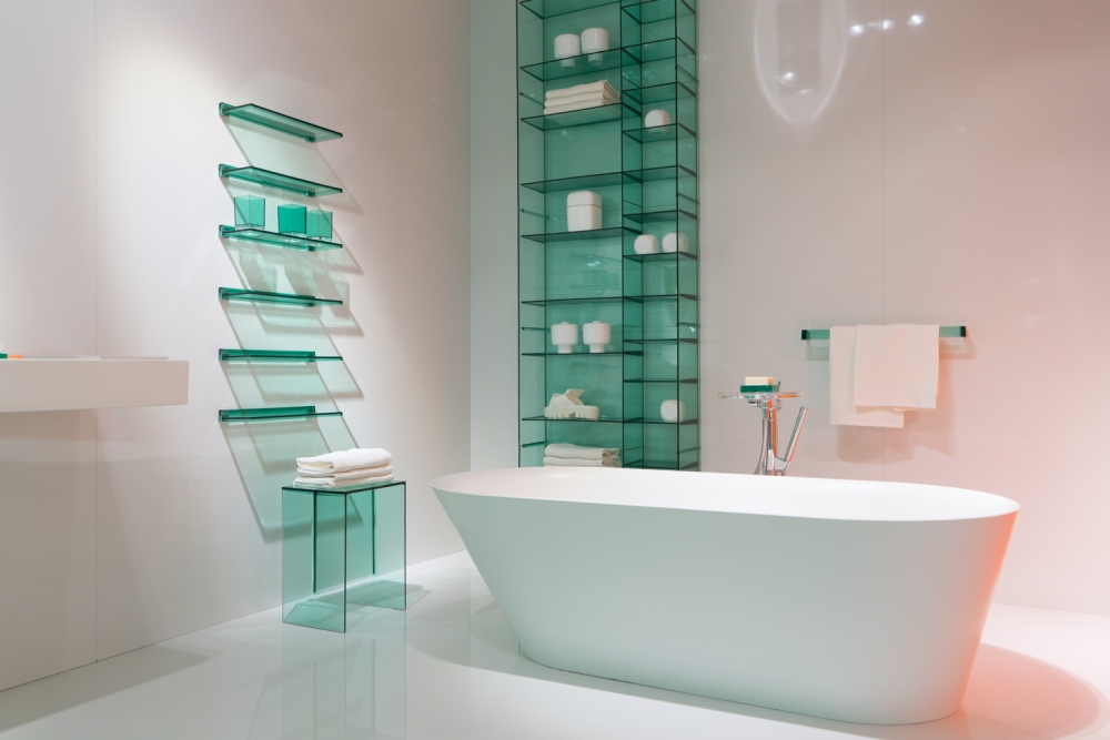 Fancy bathroom decor with glass accents