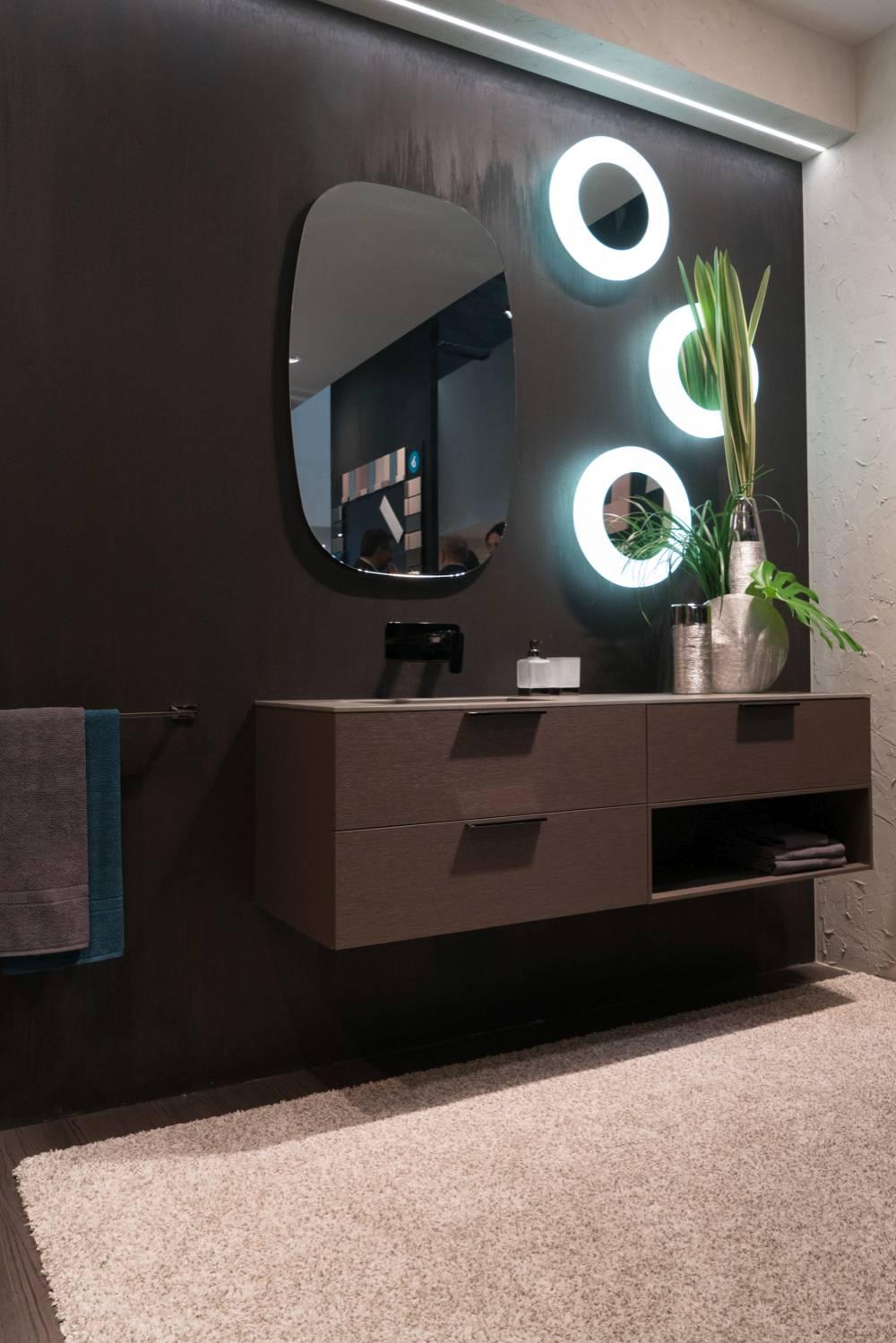 Fancy round bathroom led light mirrors