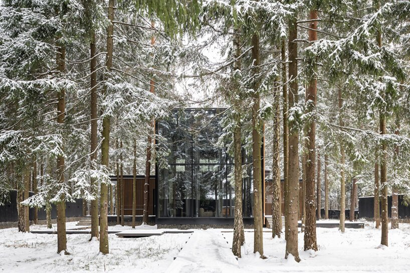The Roma house occupies an isolated plot surrounded by a pine tree forest outside Moscow