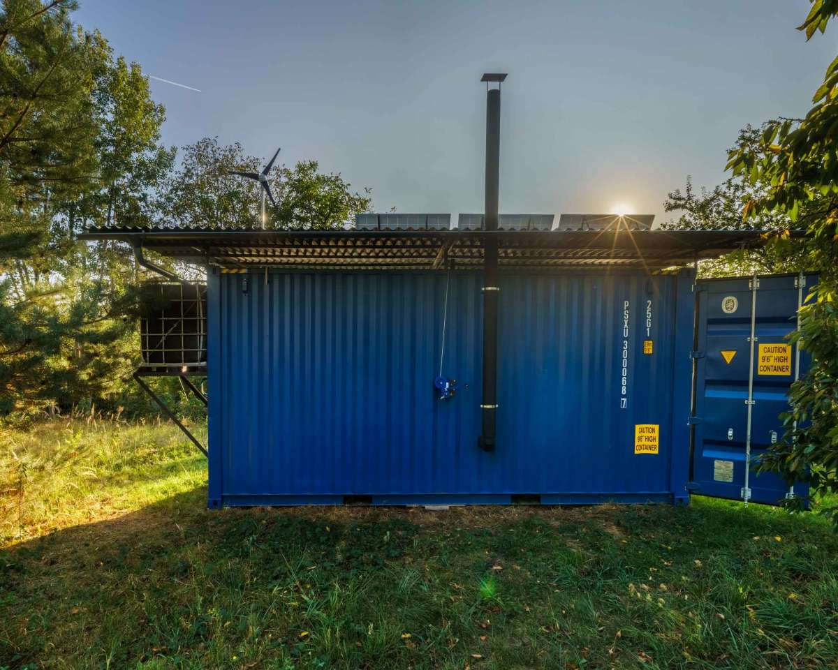 This is an off-grid house which produces its own solar and wind energy