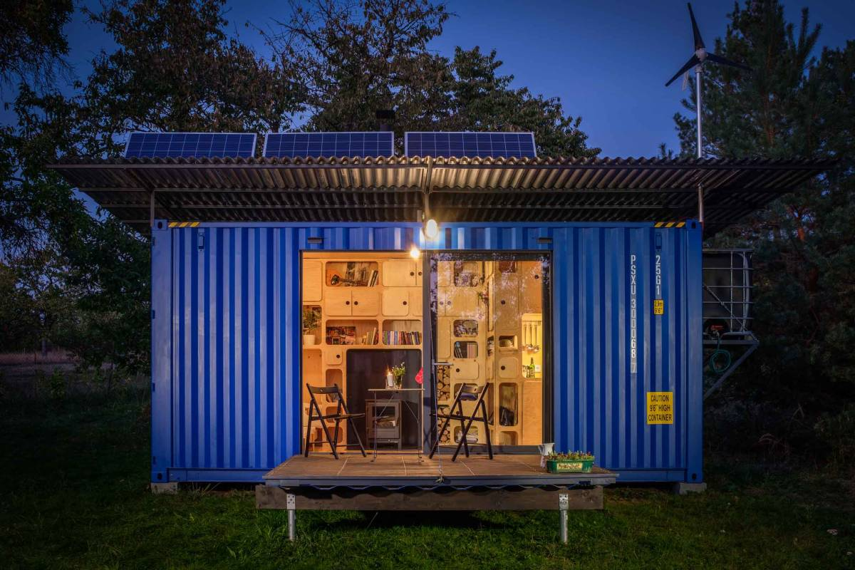 Gaia is a small shipping container house for off-grid locations