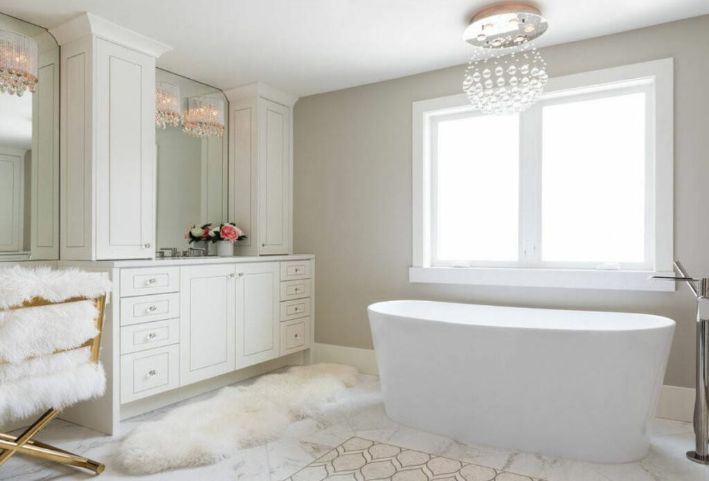 bathroom with fur accents white