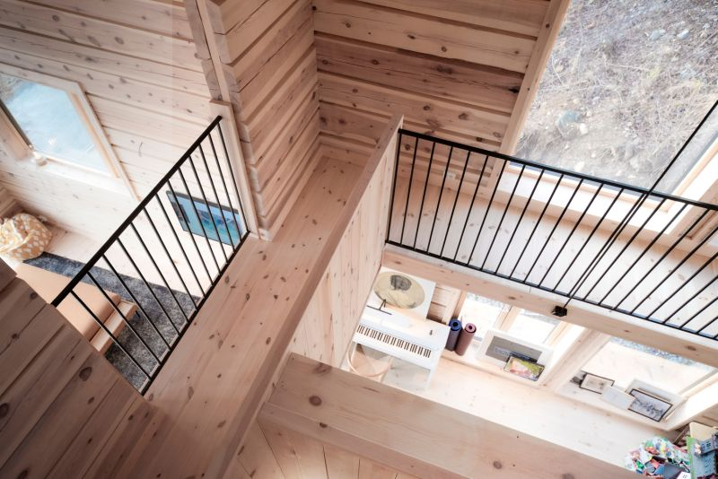 The house has a small footprint but it's tall and has plenty of space inside for cozy areas for the whole family