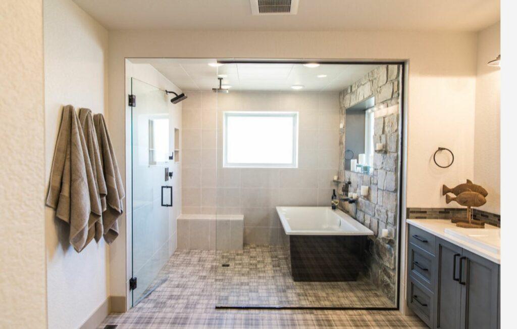walk in shower with bathtub master bathroom