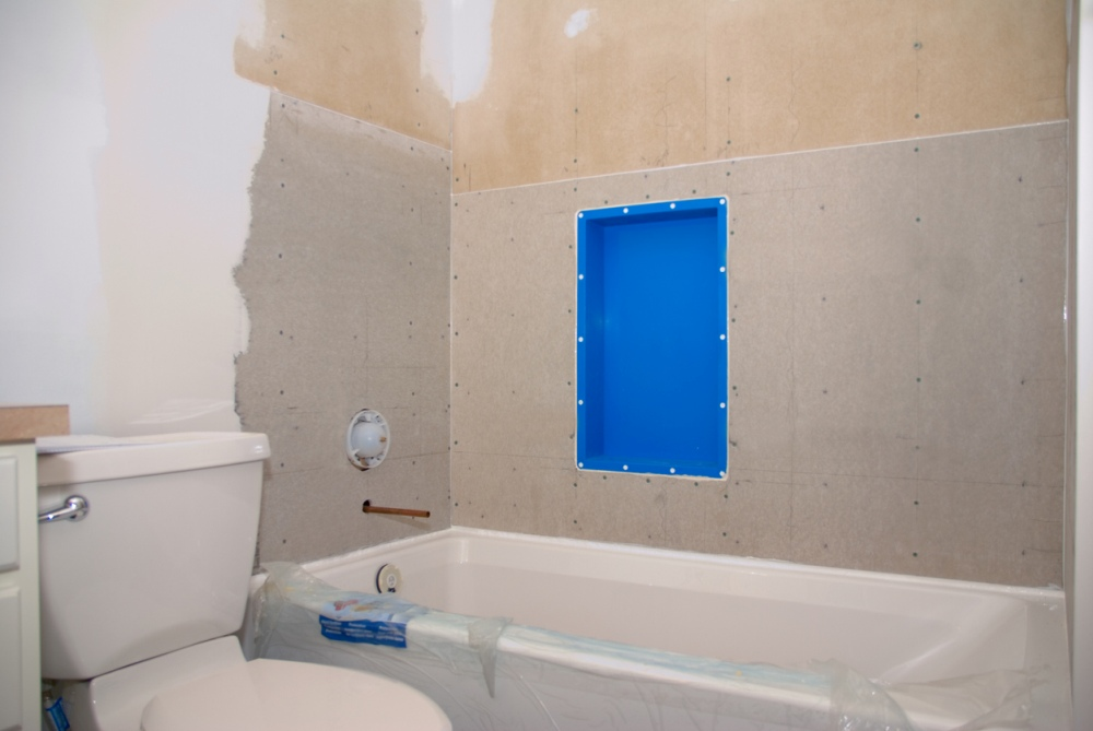 Drywall makeover for bathroom
