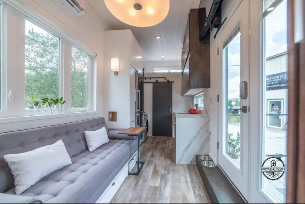 Inside the limited space means the social areas are all combined into one cozy room