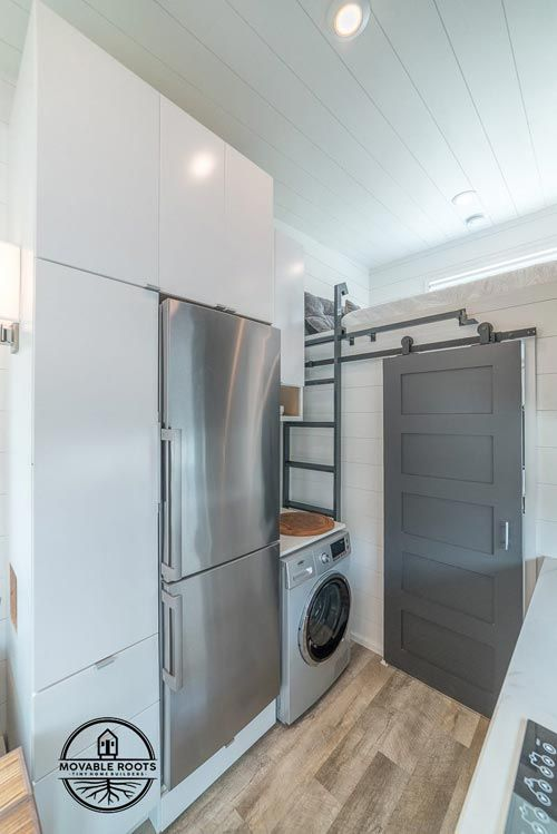 The sliding barn doors on the bathroom and bedroom and painted grey