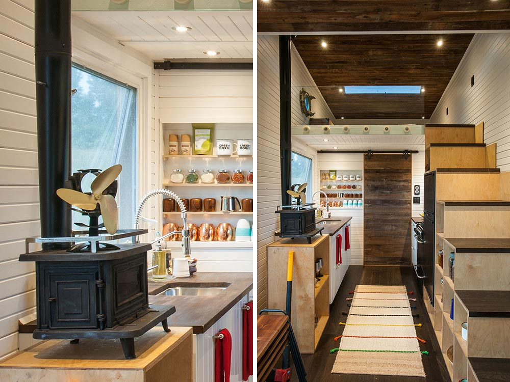 The kitchen is fairly big for a tiny house and has plenty of storage