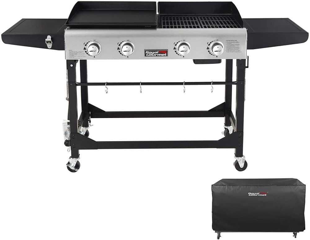 Royal Gourmet GD401C 4-Burner Portable Propane Flat Top Gas Grill and Griddle Combo