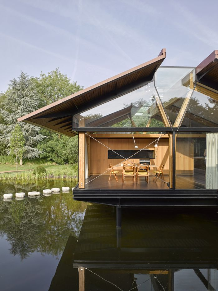 Both structures are elevated above the water, leaving space to actually swim underneath