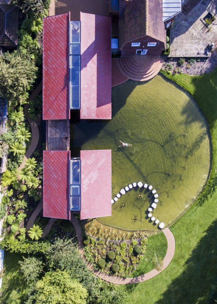The entire space around the houses was landscaped to create this almost perfect circle
