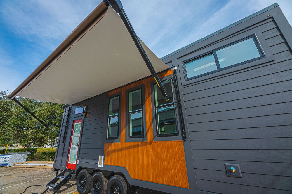 A retractable awning provides shade when parked and retracts automatically when the wind gets bad