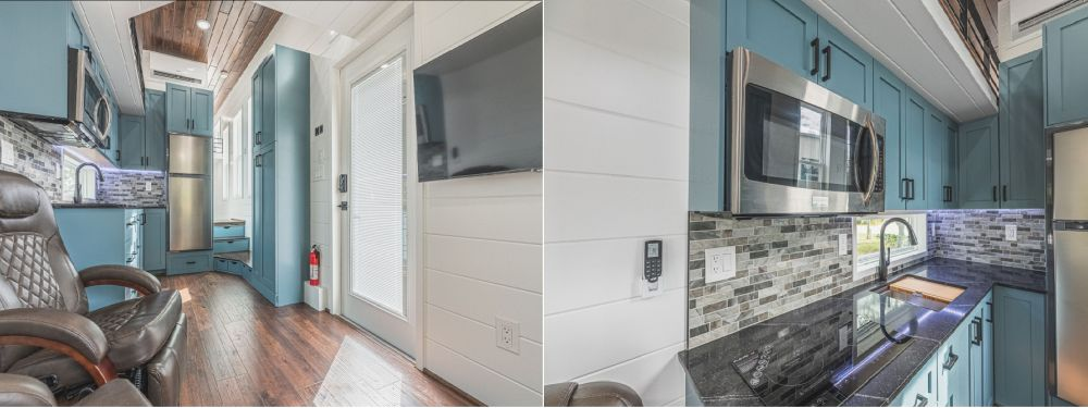 The kitchen has a beautiful backsplash with a pattern of grey tiles in different shades