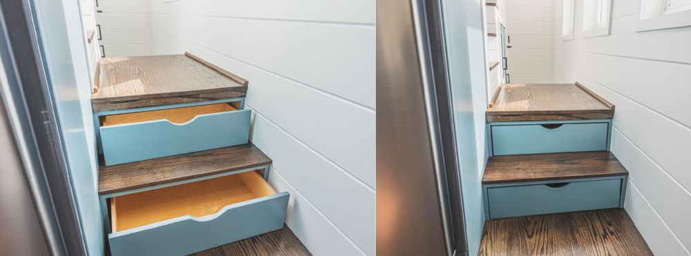 There's more clever storage spaces hidden inside the stairs
