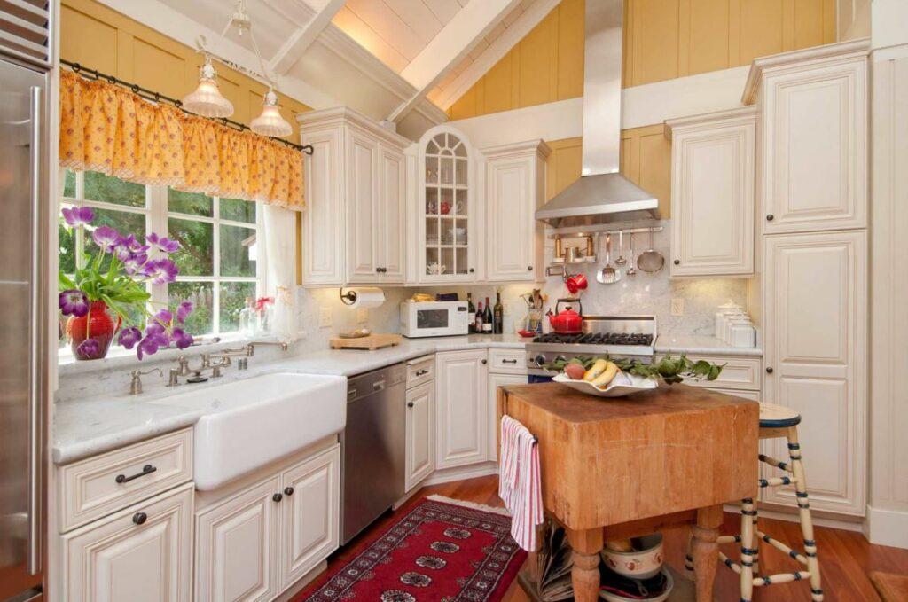farmhouse kitchen with butcher block