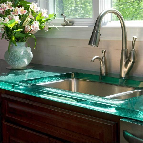glass countertops shiny