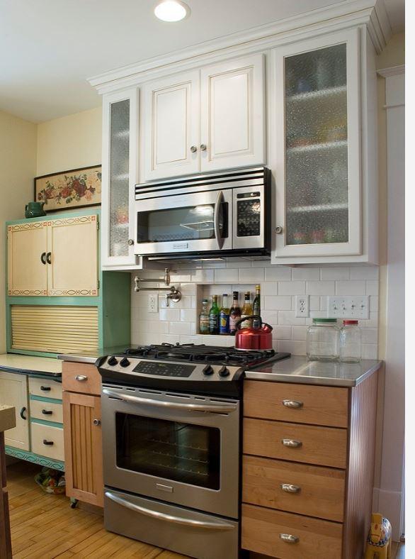 green and white kitchen hoosier vintage