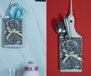 How To Make A Kitchen Utensil Holder From A Repurposed Cutting Board