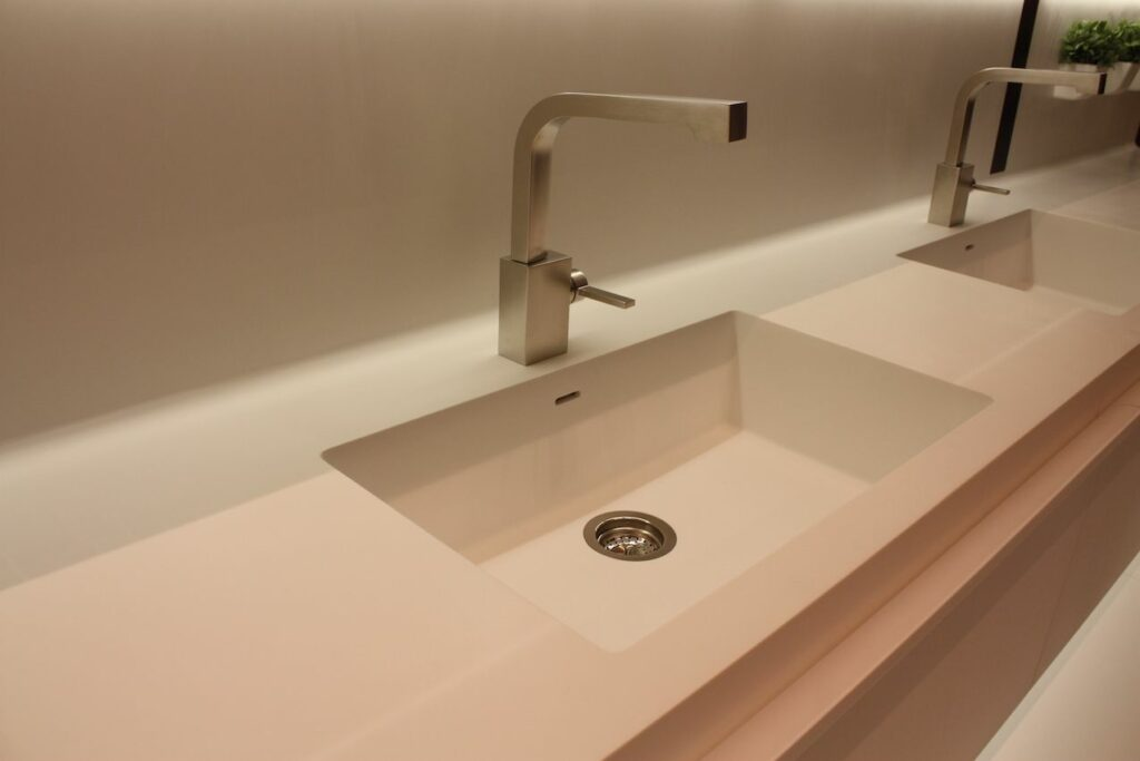 solid surface white countertop kitchen