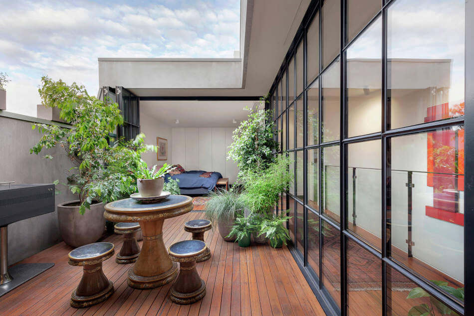 A balcony can sometimes be integrated into the floor plan