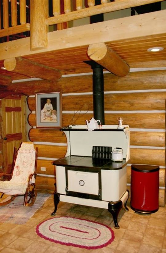 white and black cookstove on log wall