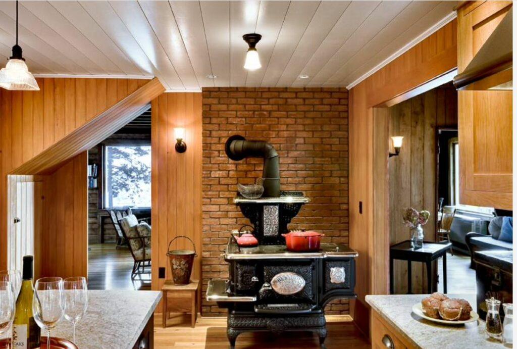 woodcookstove on brick wall