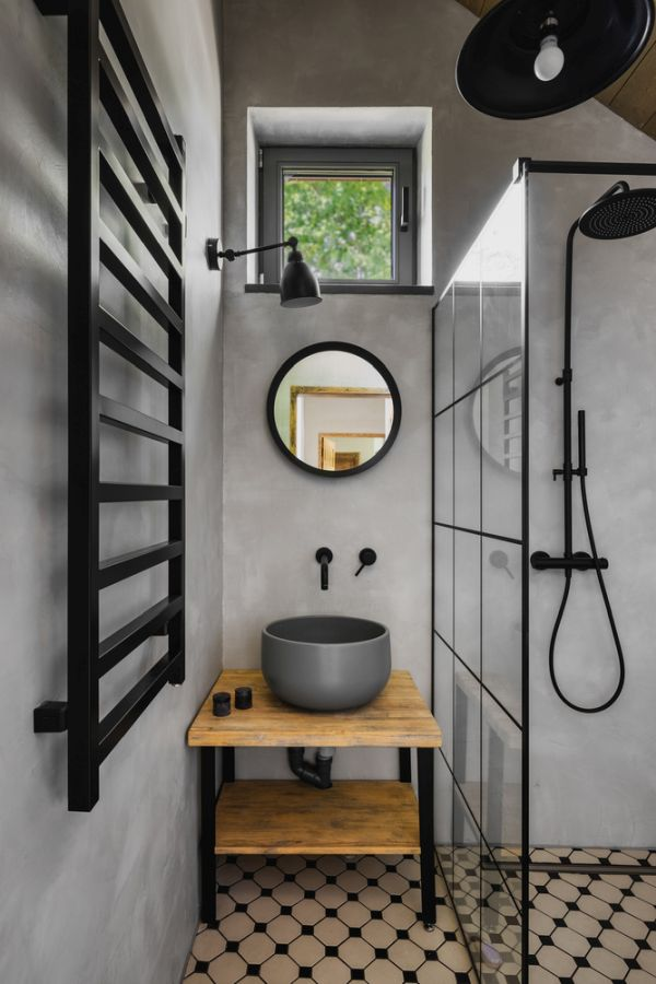 Although small, this bathroom window is a refreshing little addition to the small room