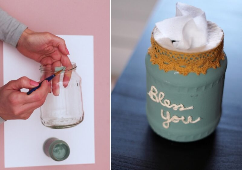 DIY Farmhouse Style Tissue Paper Holder From a Repurposed Mason Jar