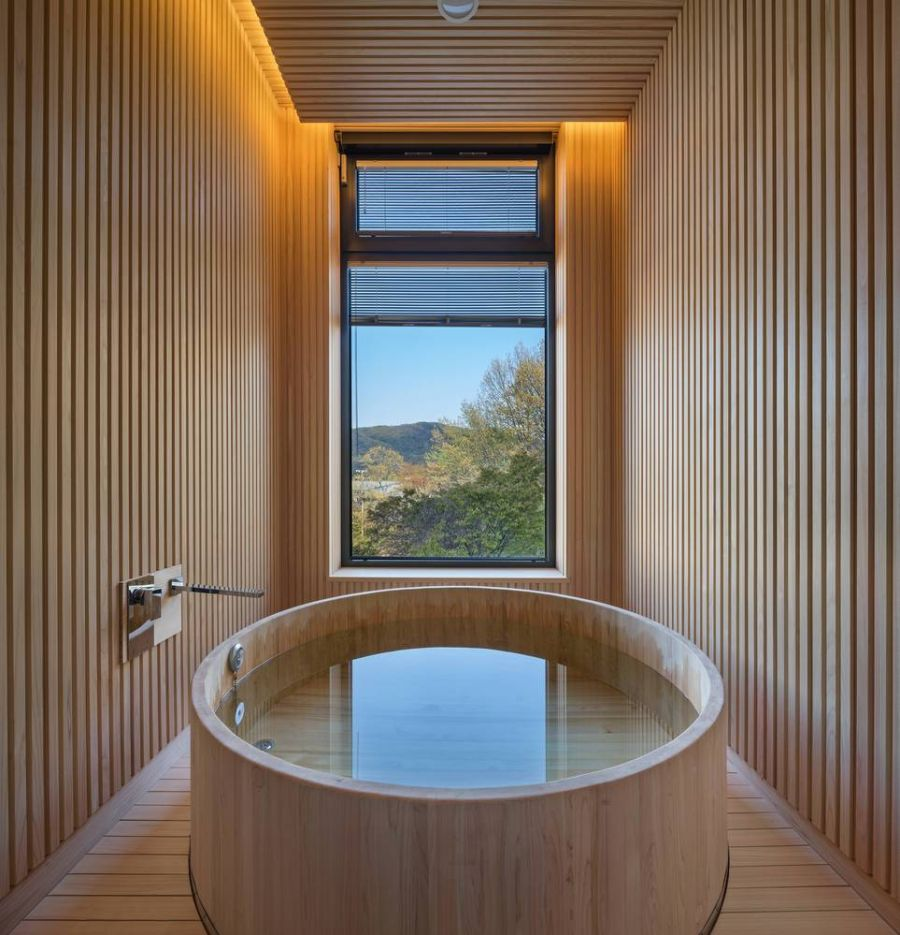 This beautiful circular bathtub area has one of the best views in the house