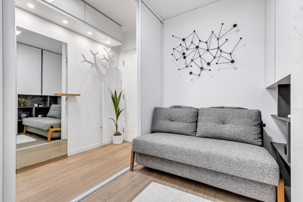 There's also another small space with sliding doors that can turn it into a separate room