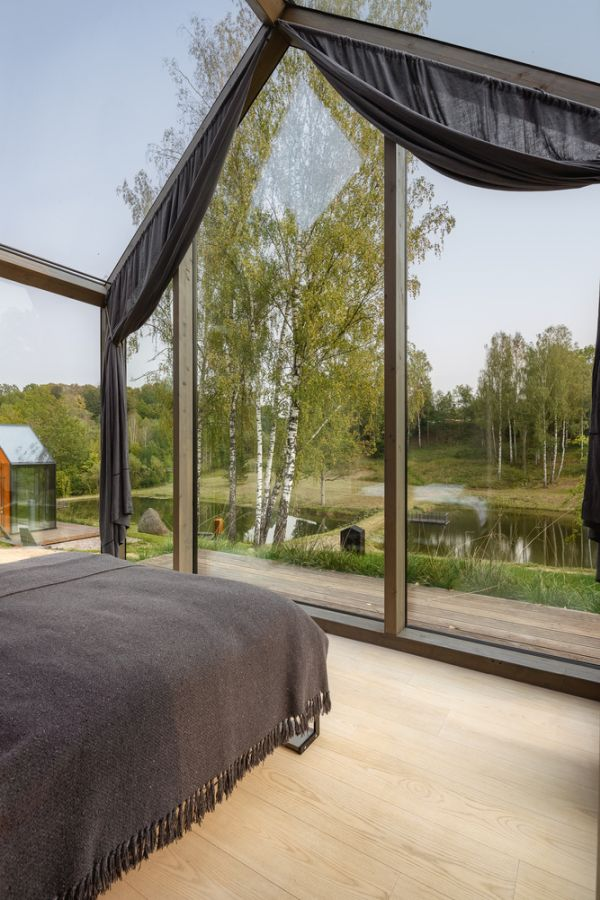 The glazed fronts provide visitors with a great view which can be admired from the bedroom