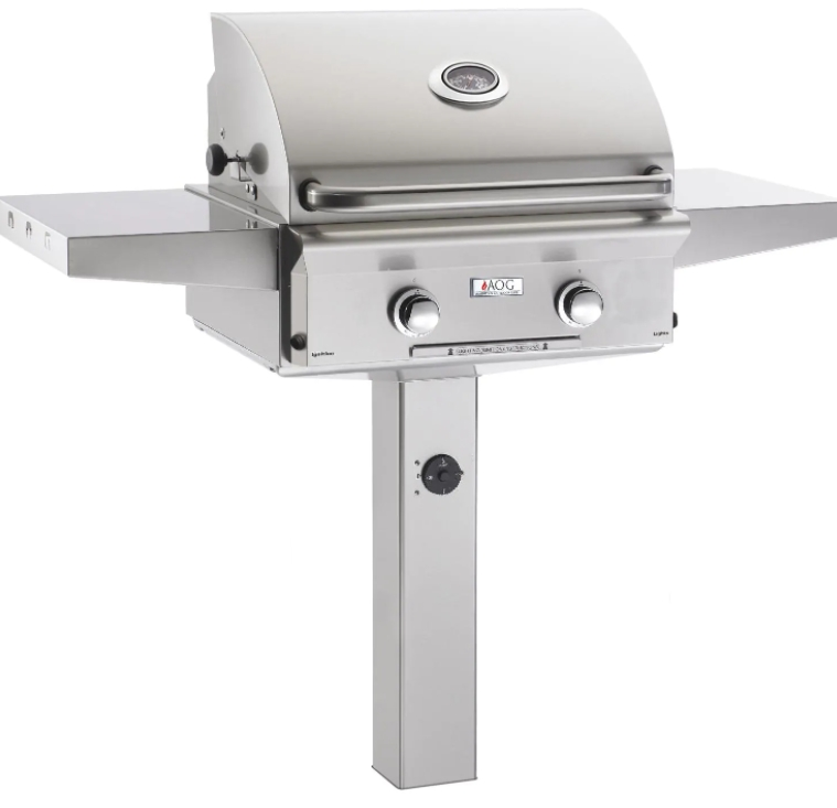 American Outdoor Grill L-Series 24-Inch 2-Burner Natural Gas Grill On In-Ground Post