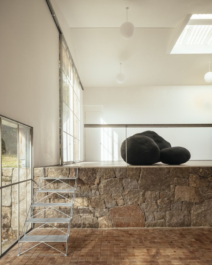 Locally-sourced stone was used for the interior design as a way to bring the outdoors in