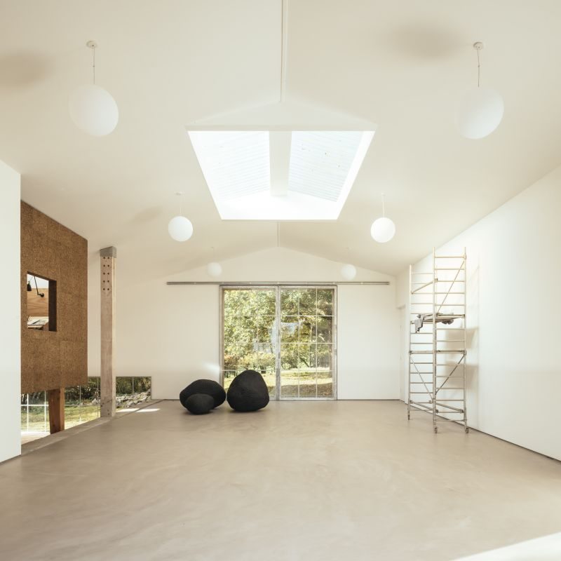 This gallery space also has a large skylight which brings in additional light