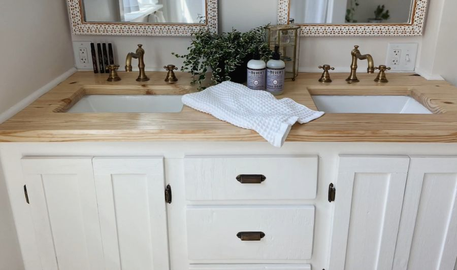 Brass features and wood butcher block