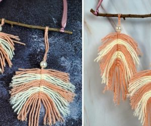 DIY Large Macrame Wall Hanging With Two-Tone Feathers