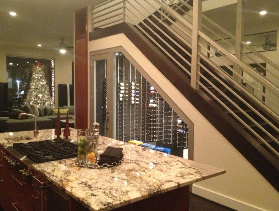 Example of a minimalist wine cellar design in Dallas