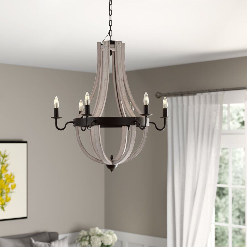 Fleury 6 - Light Candle Style Empire Chandelier with Wood Accents
