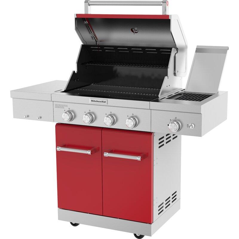 KitchenAid 4-Burner Propane Gas Grill with Cabinet