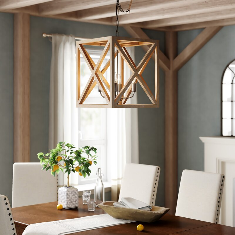 Lerman 4 - Light Lantern Square / Rectangle Chandelier with Wood