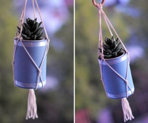 DIY Macrame Plant Hanger Using An Empty Tin Can