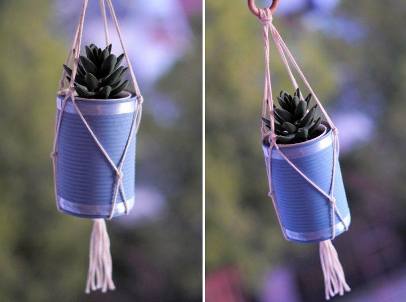 DIY Macrame Plant Hanger Using An Empty Tin Can