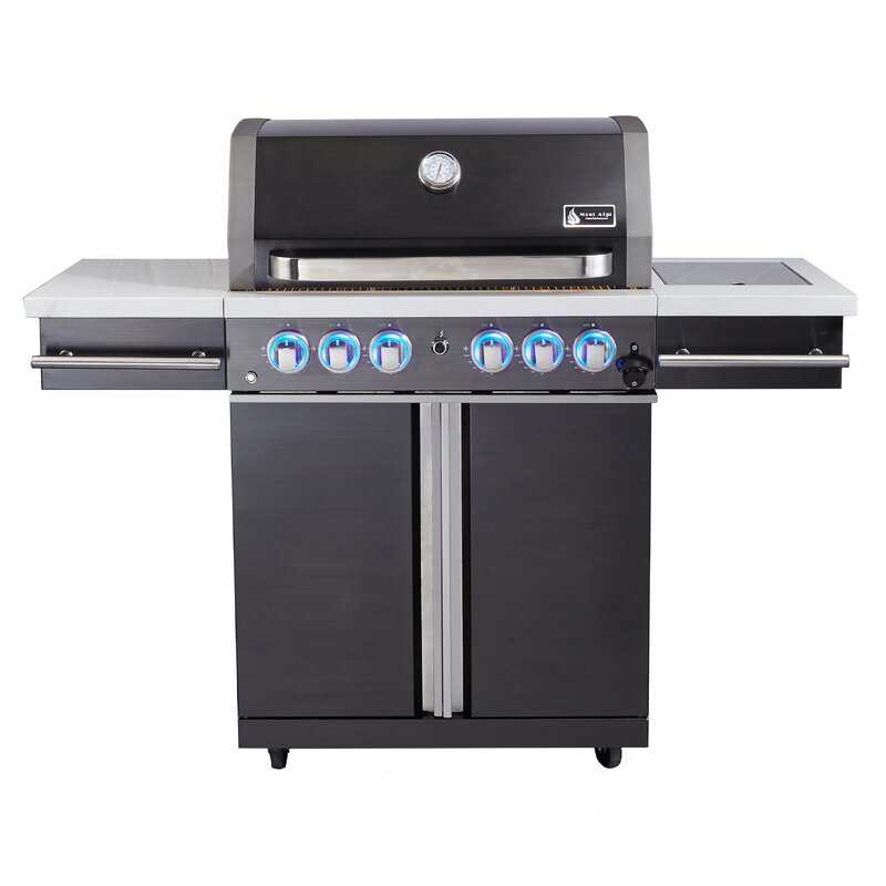 Mont Alpi 4-Burner Propane Gas Grill with Cabinet