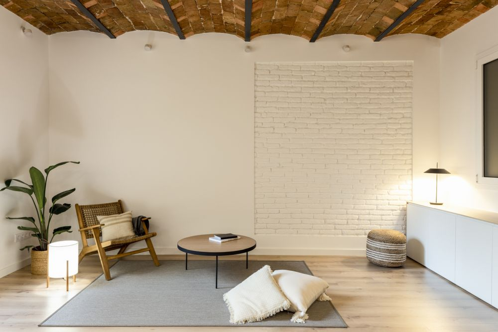 The exposed brick section of this wall was turned into a decorative detail